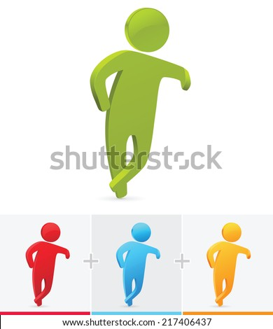3D Stick figure leaning against a white background with his leg crossed - stock vector
