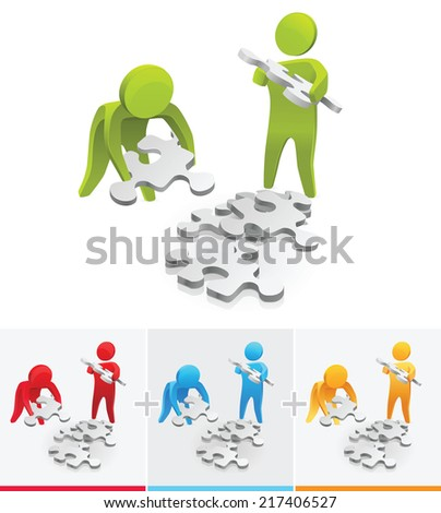 3D Stick figures collecting pieces of puzzle - stock vector