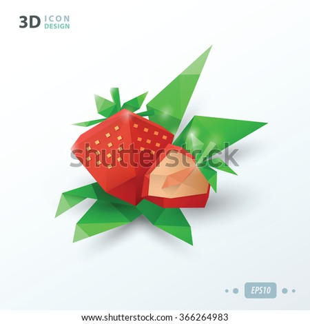 3d Strawberries with leaves - stock vector