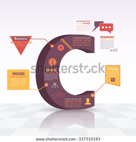 3d Style Letter C Flat Infographics Design and Web Elements. Business, Marketing Concept Vector Template - stock vector