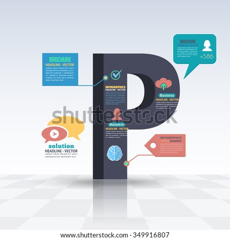 3d Style Letter P Flat Infographics Design and Web Elements. Business, Marketing Concept Vector Template - stock vector