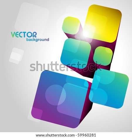3d style vector colorful shape artwork - stock vector
