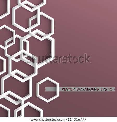 3d stylish geometric background with hexagons - stock vector