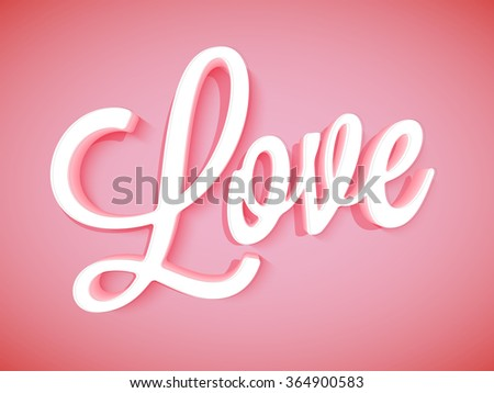 3D stylish text Love on glossy red background for Happy Valentine's Day celebration. - stock vector