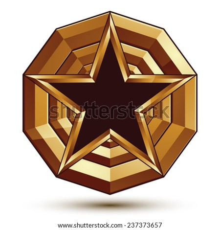 3d stylish vector template with pentagonal black star symbol placed on a golden rounded surface, best for use in web and graphic design. Conceptual aristocratic icon, clear eps8 vector. - stock vector