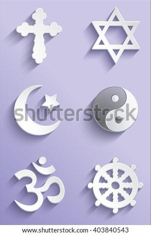 3D symbols of religion. - stock vector