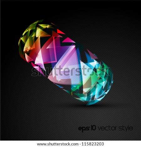 3d techno ring, abstract illustration - stock vector