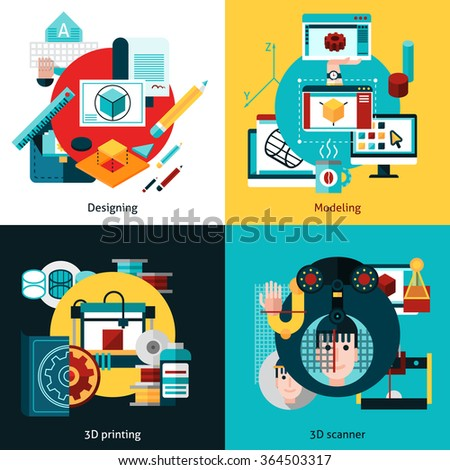 3d technology 2x2 flat concept set of designing modeling 3d printing and 3d scanning vector illustration     - stock vector