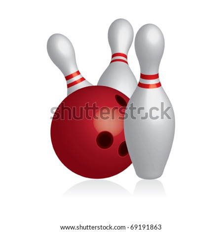 3D ten pins / skittles with bowling ball - vector illustration - stock vector