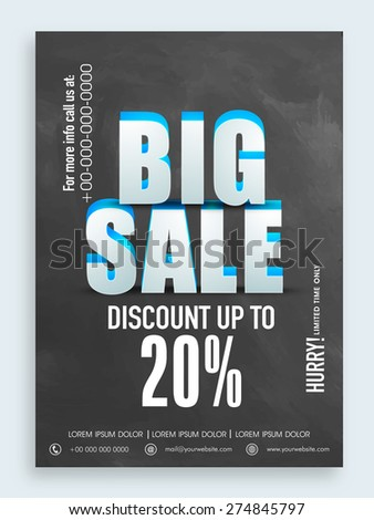 3D text Big Sale with discount offer in chalkboard style, can be used as poster, banner or flyer design. - stock vector