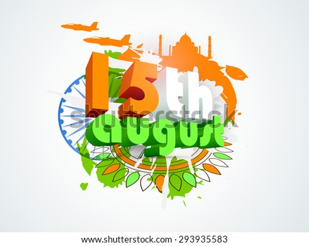 3D text 15th August in tricolors infront of Ashoka Wheel on floral design and famous monuments made by national flag colors background for Indian Independence Day celebration.  - stock vector