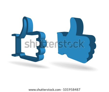 3d thumbs ub symbols isolated on white - stock vector