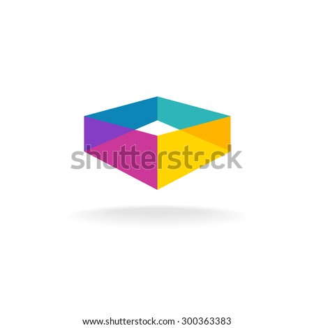 3d transparent abstract colorful perspective box logo - stock vector