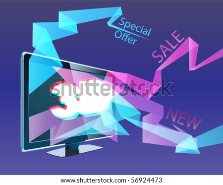 3D TV with stars taking off from the screen. - stock vector