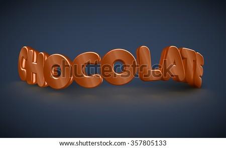 3D typography - chocolate, vector - stock vector