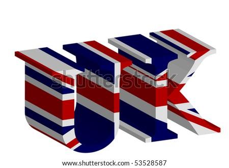 3D UK letters on white - stock vector