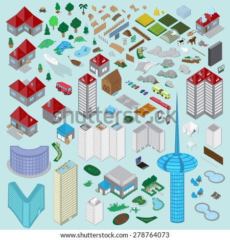 3D Urban City And Village Icons Set - Vector Illustration, Graphic Design, Editable For Your Design - stock vector