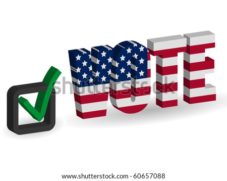 3d USA flag Vote with checkbox - stock vector