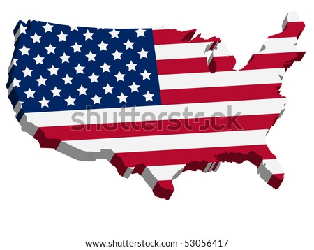 3D USA map with US flag - stock vector