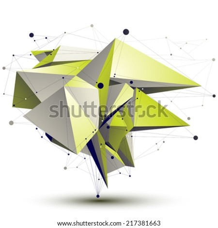 3D vector abstract design object, polygonal complicated light green figure with lines mesh isolated on white background. - stock vector