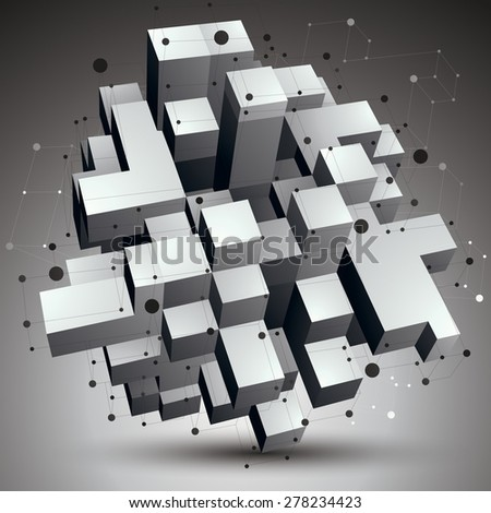 3D vector abstract technology illustration, perspective geometric unusual object with wireframe. Origami shape. - stock vector