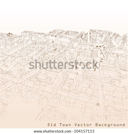 3D vector background of a European town. - stock vector