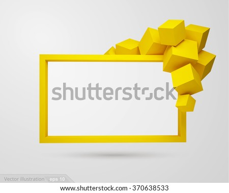 3d vector banner, cubic form - stock vector