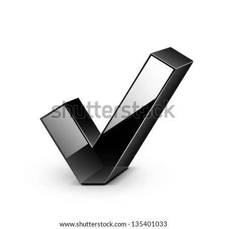 3d vector black glossy tick / ok / yes / checked / opt in icon - stock vector