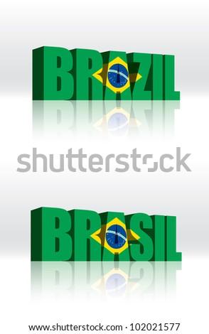 3D Vector Brazil (Brasil) Word Text Flag - stock vector