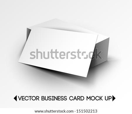 3D Vector Business Card Mock Up Design  - stock vector