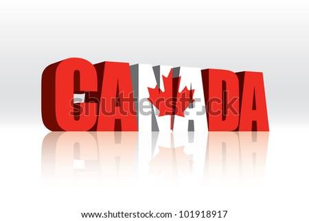 3D Vector Canada Word Text Flag - stock vector