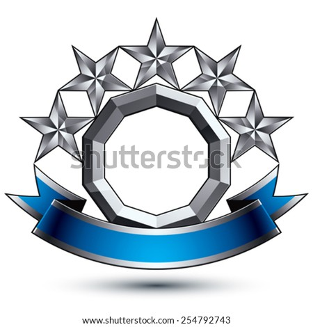 3d vector classic royal symbol, sophisticated silver round emblem with five pentagonal stars isolated on white background, glossy argent element with blue splendid ribbon. - stock vector