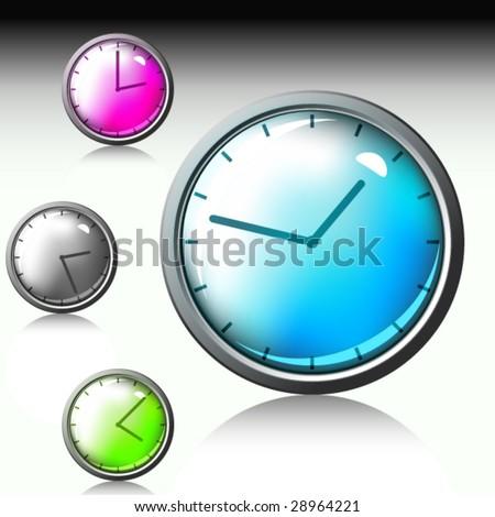 3d vector clock - stock vector