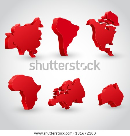 3d vector continent illustration set - stock vector