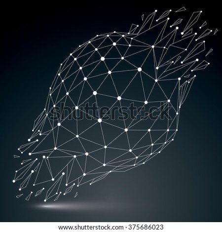 3d vector digital wireframe object broken into different particles and refractions, geometric polygonal structure with white lines mesh. Low poly shattered shape with luminescent effect. - stock vector