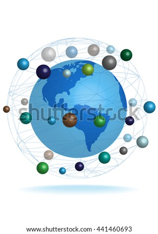 3D vector Earth globe and planets flat design isolated on white background. - stock vector