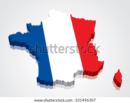 3D vector flag map of France - stock vector