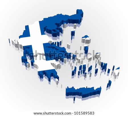 3D vector flag map of Greece - stock vector