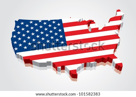 3D vector flag map of the USA (United States of America) - stock vector