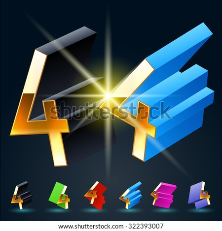 3D vector futuristic luxury alphabet with gold. All symbols in set have 8 random points of view and 6 different colors. Number 4 - stock vector