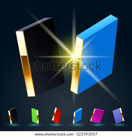 3D vector futuristic luxury alphabet with gold. All symbols in set have 8 random points of view and 6 different colors. Letter I - stock vector