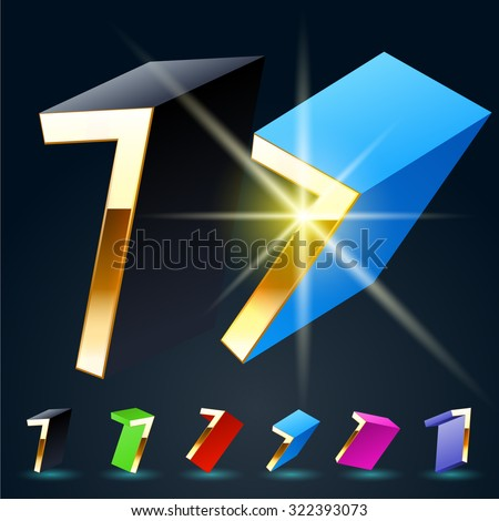 3D vector futuristic luxury alphabet with gold. All symbols in set have 8 random points of view and 6 different colors. Number 7 - stock vector
