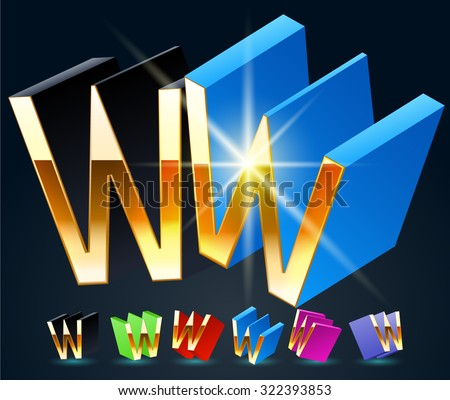 3D vector futuristic luxury alphabet with gold. All symbols in set have 8 random points of view and 6 different colors. Letter W - stock vector