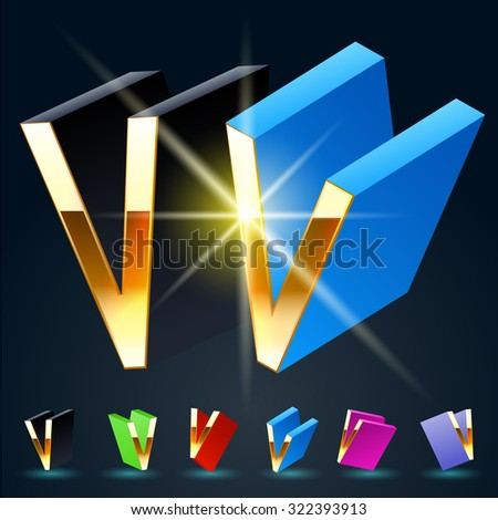 3D vector futuristic luxury alphabet with gold. All symbols in set have 8 random points of view and 6 different colors. Letter V - stock vector
