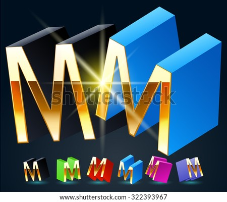 3D vector futuristic luxury alphabet with gold. All symbols in set have 8 random points of view and 6 different colors. Letter M - stock vector