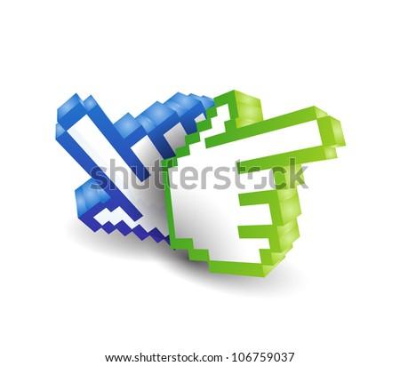 3d vector hand Cursor symbol - stock vector