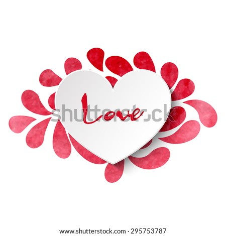 3d vector heart on watercolor splashes background with 'Love' lettering in pink and red colors. Vector illustration EPS10. - stock vector