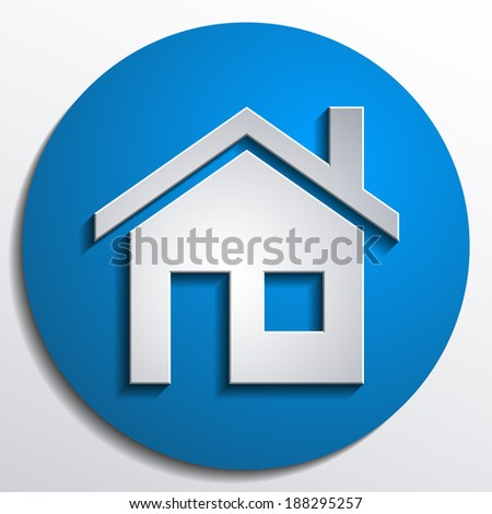 3d vector home icon design with isolated on blue background button - stock vector