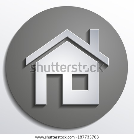 3d vector home icon design with isolated on gray background button - stock vector