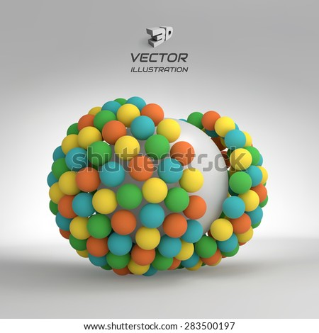 3d vector illustration. Concept for science, technology and network. Can be used for presentations and design. - stock vector